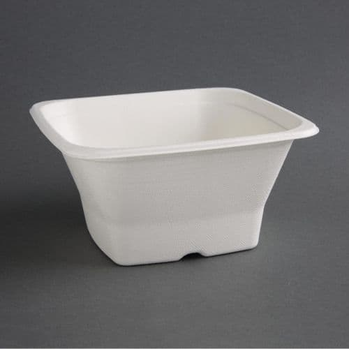 FC538 Fiesta Green Compostable Bagasse Square Bowls 40oz (Pack of 50)